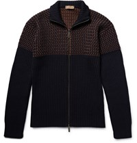 Etro Birdseye Panelled Wool Zip Up Cardigan Blue