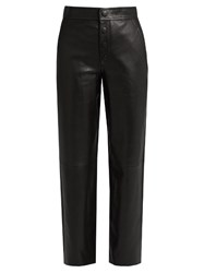 Helmut Lang High Rise Wide Leg Leather Trousers Black