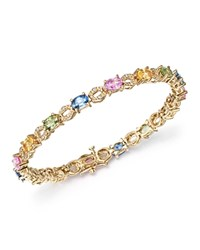 Bloomingdale's Multi Sapphire And Diamond Bracelet In 14K Yellow Gold Multi Gold