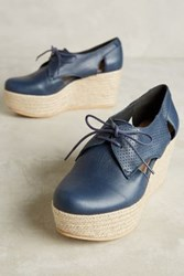 Anthropologie Kmb Cutout Platform Oxfords Navy 37 Euro Oxfords