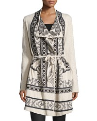Biya Tikal Tribal Print Wrap Cardigan Oatmeal Brown