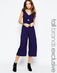 Glamorous Tall Wide Leg Jumpsuit Navy