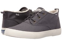 Keds Triumph Mid Brushed Canvas With Faux Shearling Charcoal Women's Lace Up Casual Shoes Gray