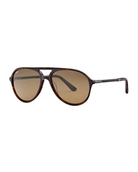 Tod's Braided Plastic Aviator Sunglasses Dark Havana Brown