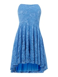 John Zack Lace Fit And Flare Strapless Dress Blue