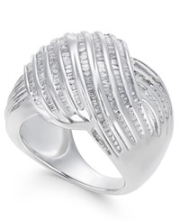 Macy's Diamond Channel Set Statement Ring In Sterling Silver