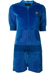Philipp Plein Velvet Playsuit Blue