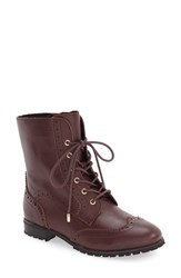 Sudini Women's 'Felicia' Lace Up Boot Burgundy Leather