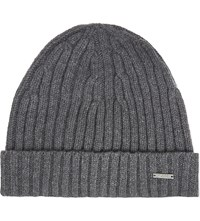 Hugo Boss T Benzo Ribbed Cashmere Wool Beanie Grey
