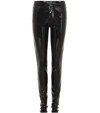 Anthony Vaccarello Faux Patent Leather Trousers Black