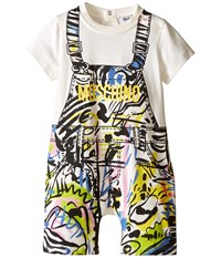 Moschino Kids Short Sleeve Print Romper Infant Black Yellow Men's Jumpsuit And Rompers One Piece Gray