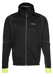 Gore Running Wear Essential Sports Jacket Black Neon Yellow