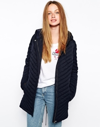 Lacoste Long Quilted Jacket Eclipse