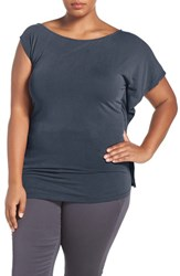 Addition Elle Love And Legend Plus Size Women's Asymmetrical Off The Shoulder Top Mood Indigo
