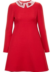 Valentino Beaded Collar Dress Red
