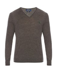 Polo Ralph Lauren V Neck Wool Sweater Grey