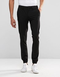 Asos Super Skinny Smart Joggers In Black Black