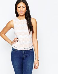 Daisy Street Vest Top In Multi Lace White Pink