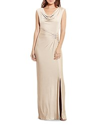 Ralph Lauren Cowlneck Gown With Brooch Gold