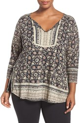 Lucky Brand Plus Size Women's Print Block Split Neck Top Black Multi