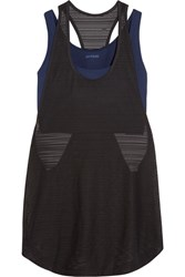 Ivy Park Layered Ribbed Mesh And Stretch Jersey Tank Navy