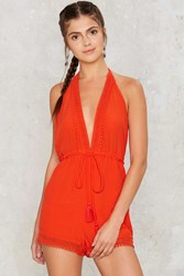 New Low Plunging Romper Orange