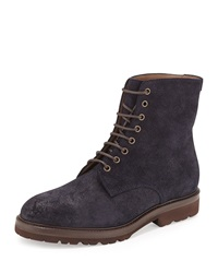 Waxed Leather Lace Up Hiker Boot Navy Brunello Cucinelli