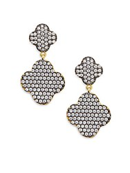 Freida Rothman Sterling Silver And 14K Gold Vermeil Double Pave Clover Earrings Gold Multi
