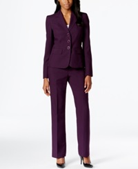 Le Suit Three Button Knit Pantsuit Concord