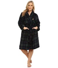 Lauren Ralph Lauren Plus Size Folded So Soft Terry Short Robe Wallace Plaid Green Windsor Navy Multi Women's Robe Black