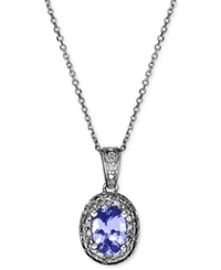 Macy's Sterling Silver Necklace Tanzanite 3 4 Ct. T.W. And Diamond Accent Oval Pendant