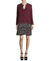 Etro Long Sleeve Floral Print Topper Coat Black Red
