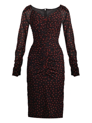 Dolce And Gabbana Polka Dot Print Ruched Dress