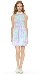 Cynthia Rowley Fit And Flare Collar Dress Mint Disco Flower