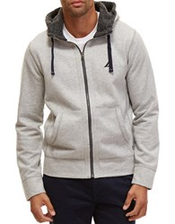 Nautica Big And Tall Sherpa Lined Zip Front Hoodie Grey Heather