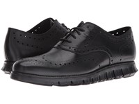 Cole Haan Zerogrand Wing Ox Black Glove Open Holes Leather Black Leather Men's Lace Up Wing Tip Shoes