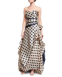Rubin Singer Sweetheart Neck Polka Dot Gown Cream Navy Ivory Navy Women's