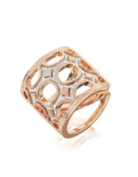 Rebecca Seventies 18 Kt Rose Gold Over Bronze Ring With Glitter Pink
