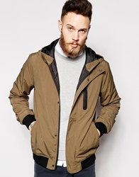 Asos Hooded Bomber Jacket Khaki