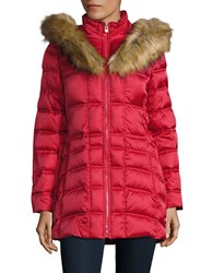 Betsey Johnson Faux Fur Trimmed Hooded Mid Length Puffer Coat Glamour Red