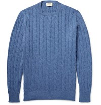 William Lockie Orwell Cable Knit Melange Cashmere Sweater Blue