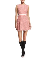 Giambattista Valli Sleeveless Tweed A Line Dress Pink Pink Tweed