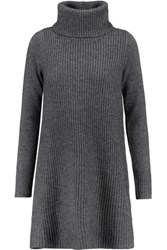 Madeleine Thompson Lyle Ribbed Wool And Cashmere Blend Mini Sweater Dress Charcoal
