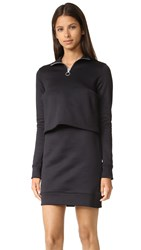 Marques Almeida Fleece Zip Up Dress With Overlay Black