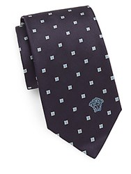 Versace Spliced Square Silk Tie Blue