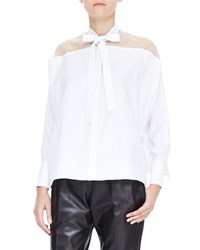 Valentino Sheer Yoke Self Tie Side Slit Blouse White