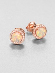 Suzanne Kalan Opal White Sapphire And 14K Rose Gold Round Stud Earrings