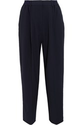 Acne Studios Milica Cropped Crepe Straight Leg Pants Navy
