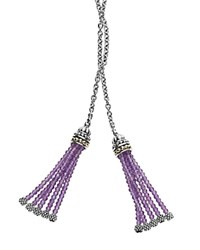 Lagos 18K Gold And Sterling Silver Lariat Necklace With Amethyst Tassels 42 Purple Silver