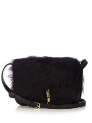 Elizabeth And James Cynnie Micro Shearling Leather Cross Body Bag Black